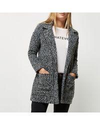 River Island - Gray Grey Boucle Jacket - Lyst
