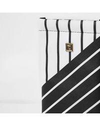 River Island - Black And White Stripe Print Sunglasses Case - Lyst