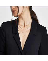 River Island - Metallic Tone Layered Snake Chain Necklace - Lyst