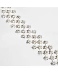 River Island - Metallic Silver Tone Diamante Cup Chain Bracelet - Lyst