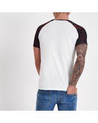 River Island - White Leaf Print Short Sleeve Raglan T-shirt for Men - Lyst