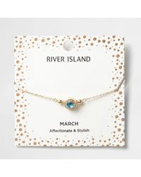 River Island - Blue Gem March Birthstone Bracelet - Lyst