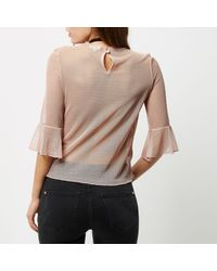 River Island - Light Pink Dobby Mesh Lace Bell Sleeve Top - Lyst