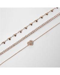River Island - Metallic Gold Tone Diamante Heart Bracelet Pack - Lyst