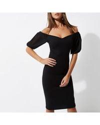 River Island - Black Puff Sleeve Bardot Bodycon Dress - Lyst
