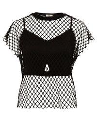 River Island - Black Mesh Bralet T-shirt - Lyst