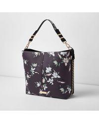 River Island Black Floral Studded Underarm Slouch Bag