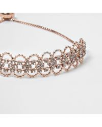 River Island - Multicolor Rose Gold Tone Scallop Diamante Bracelet - Lyst
