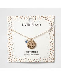 River Island - Light Blue Gem September Birthstone Necklace - Lyst