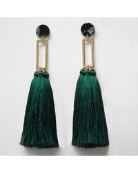 fee7f6485244 River Island Dark Green Tassel Drop Earrings in Green - Lyst