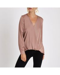 8d593ab16b6409 River Island Dark Pink Wrap Tuck Front Long Sleeve Blouse in Pink - Lyst