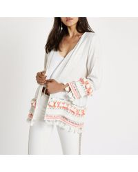 River Island - Natural Cream Aztec Embroidered Tassel Beach Kimono - Lyst