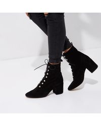 River Island - Black Suede Tie Up Boots - Lyst