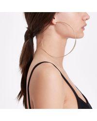 River Island - Metallic Gold Colour Oversized Hoop Earrings - Lyst