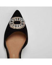 River Island - Black Diamante Embellished Pointed Shoes - Lyst