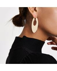 River Island - Metallic Gold Tone Oval Hoop Earrings - Lyst