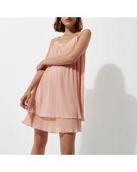 River Island - Light Pink Pleated Cami Slip Dress - Lyst