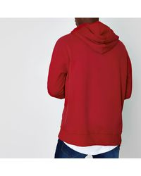River Island - Red Slouch Fit Hoodie for Men - Lyst