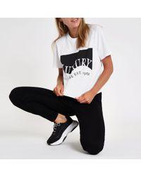 River Island - White 'luxury' Print Boyfriend Crop T-shirt - Lyst