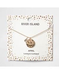 River Island - Metallic Silver Gem April Birthstone Necklace - Lyst