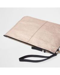 River Island - Multicolor Rose Gold Leather Clutch Bag Rose Gold Leather Clutch Bag - Lyst