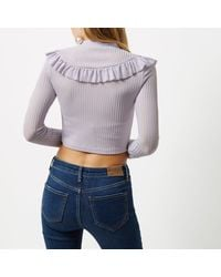 River Island - Light Purple Frill Bib Turtle Neck Crop Top - Lyst