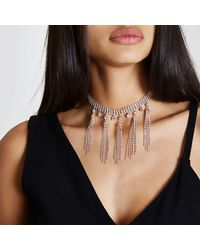 River Island - Pink Rose Gold Tone Diamante Tassel Choker Rose Gold Tone Diamante Tassel Choker - Lyst