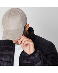 River Island - Gray Light Grey Suede Baseball Cap for Men - Lyst