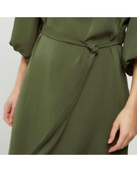 River Island - Green Khaki Puff Sleeve Swing Dress - Lyst