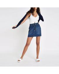 River Island - Dark Blue Drawstring Stripe Mini Denim Skirt - Lyst