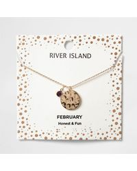 River Island - Purple Gem February Birthstone Necklace - Lyst