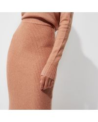 River Island - Pink Rib Knit Side Split Midi Skirt - Lyst