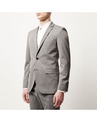 River Island - Gray Grey Slim Suit Jacket for Men - Lyst