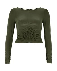 River Island | Khaki Green Ruched Front Top | Lyst