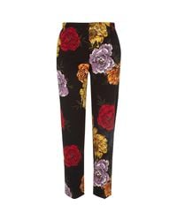 River Island - Black Floral Cropped Slim Fit Trousers - Lyst