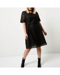 fae43f0a08 Lyst - River Island Plus Black Lace Midi Dress in Black