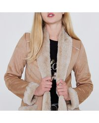 River Island - Brown Camel Faux Shearling Trim Open Front Coat - Lyst