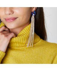 River Island - Metallic Gold Tone Cup Chain Sapphire Dangle Earrings Gold Tone Cup Chain Sapphire Dangle Earrings - Lyst