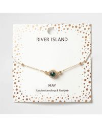 River Island | Green Gem May Birthstone Bracelet | Lyst