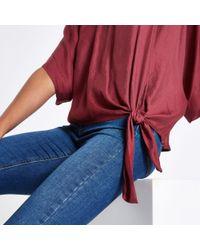 River Island - Purple Dark Knot Side T-shirt - Lyst