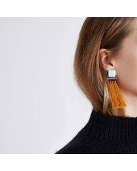 River Island - Orange Tassel Square Dangle Earrings Orange Tassel Square Dangle Earrings - Lyst