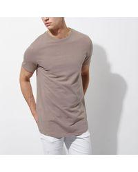 River Island - Multicolor Stone Curved Hem Longline T-shirt for Men - Lyst