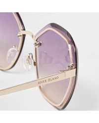 River Island - Purple Glam Hexagon Ocean Sunglasses - Lyst