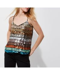 River Island - Blue Turquoise Multi Coloured Sequin Cami Top - Lyst