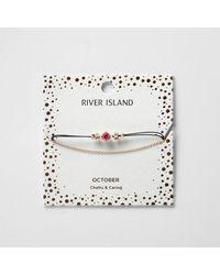 River Island - Pink October Birthstone Chain Bracelete - Lyst
