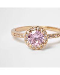 River Island - Metallic Gold Tone Pink Jewel Ring - Lyst