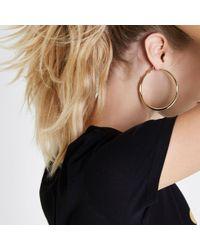River Island - Metallic Tone Hoop Earrings - Lyst