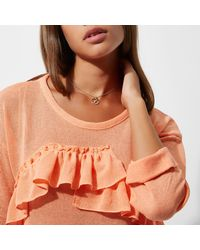 River Island - Orange Gem November Birthstone Necklace - Lyst