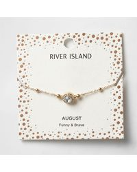River Island - Green Gem August Birthstone Bracelet - Lyst