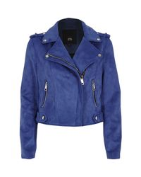 River Island - Blue Faux Suede Biker Jacket - Lyst